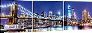 Canvas Wall Art Decor - 16x16 3 Piece Set (Total 16x48 inch) - NYC Brooklyn Bridge At Night - Large Decorative & Modern Multi Panel Split Prints for Dining & Living Room, Kitchen, Bedroom & Office