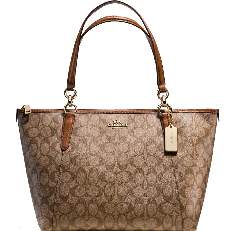 SALE ! New Authentic COACH Elegant Luxury Signature Ava Monogram LARGE Shoulder Tote Bag in Beautiful Khaki & Saddle Brown