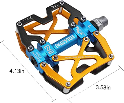 """Mzyrh Mountain Bike Pedals, Ultra Strong Colorful CNC Machined 9/16"""" Cycling Sealed 3 Bearing Pedals"""