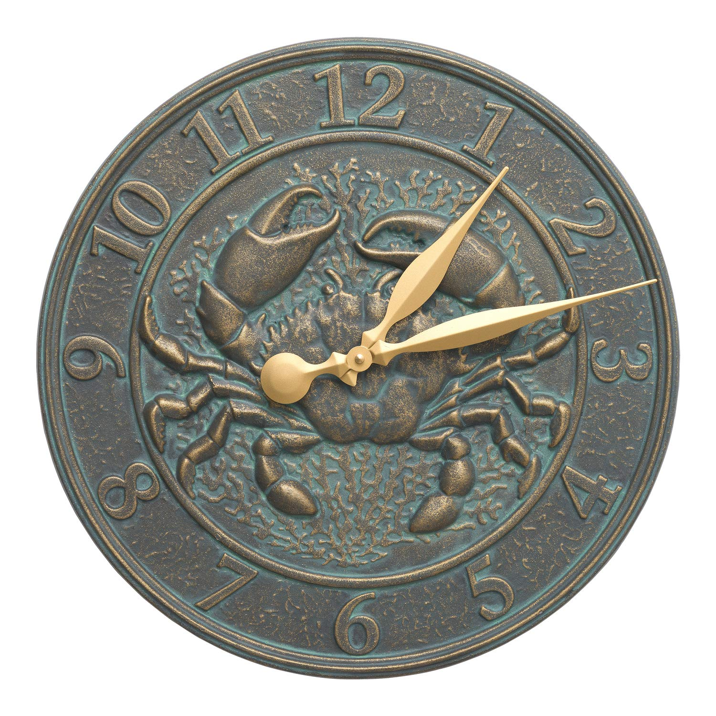 Whitehall Products Crab Sealife Clock, Bronze Verdigris
