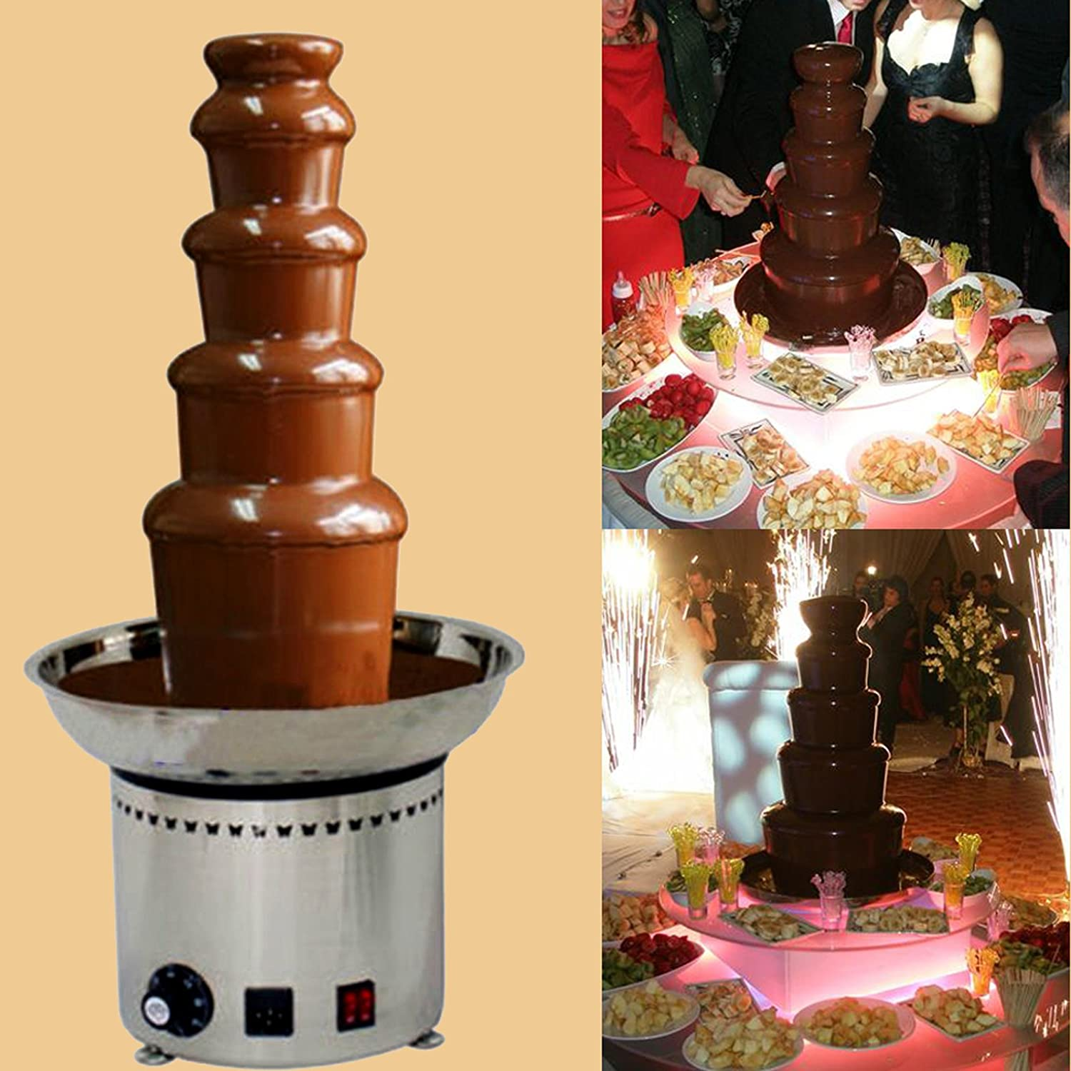 Amazon.com: CO-Z Large Chocolate Fondue Fountain 27' 5-Tier All ...