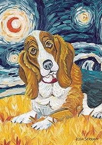 Toland Home Garden Van Growl Basset Hound 12.5 x 18 Inch Decorative Puppy Dog Portrait Starry Night Garden Flag