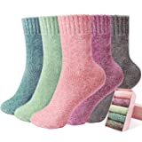 Women Socks,5 Pairs Warm Winter Wool Socks Thick Knit Vintage Casual Cotton Socks for Women Gifts