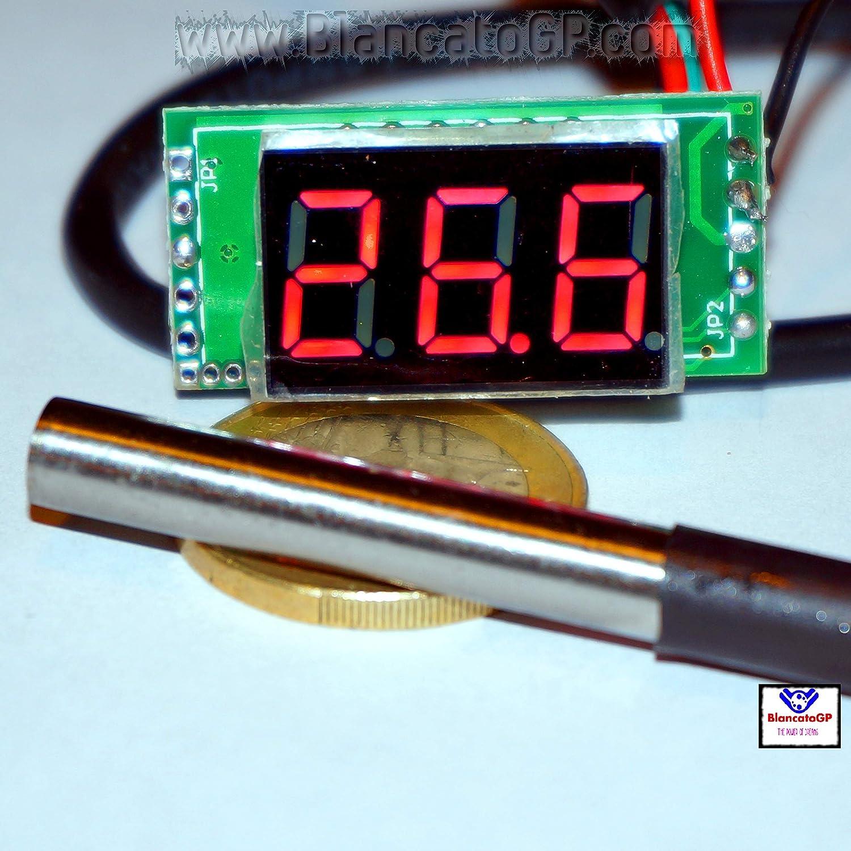 Wohnmobil -55 ~ 125 ℃ f/ür Auto DS18B20 wasserdicht rote LED digital Mini-Thermometer Motorrad