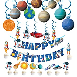 39PCS Outer Space Birthday Decoration Solar System Hanging Banner Astronaut Theme Party Supplies Planet Birthday Party Banner for Boys Kids Spaceship Rocket Galaxy Party Decor