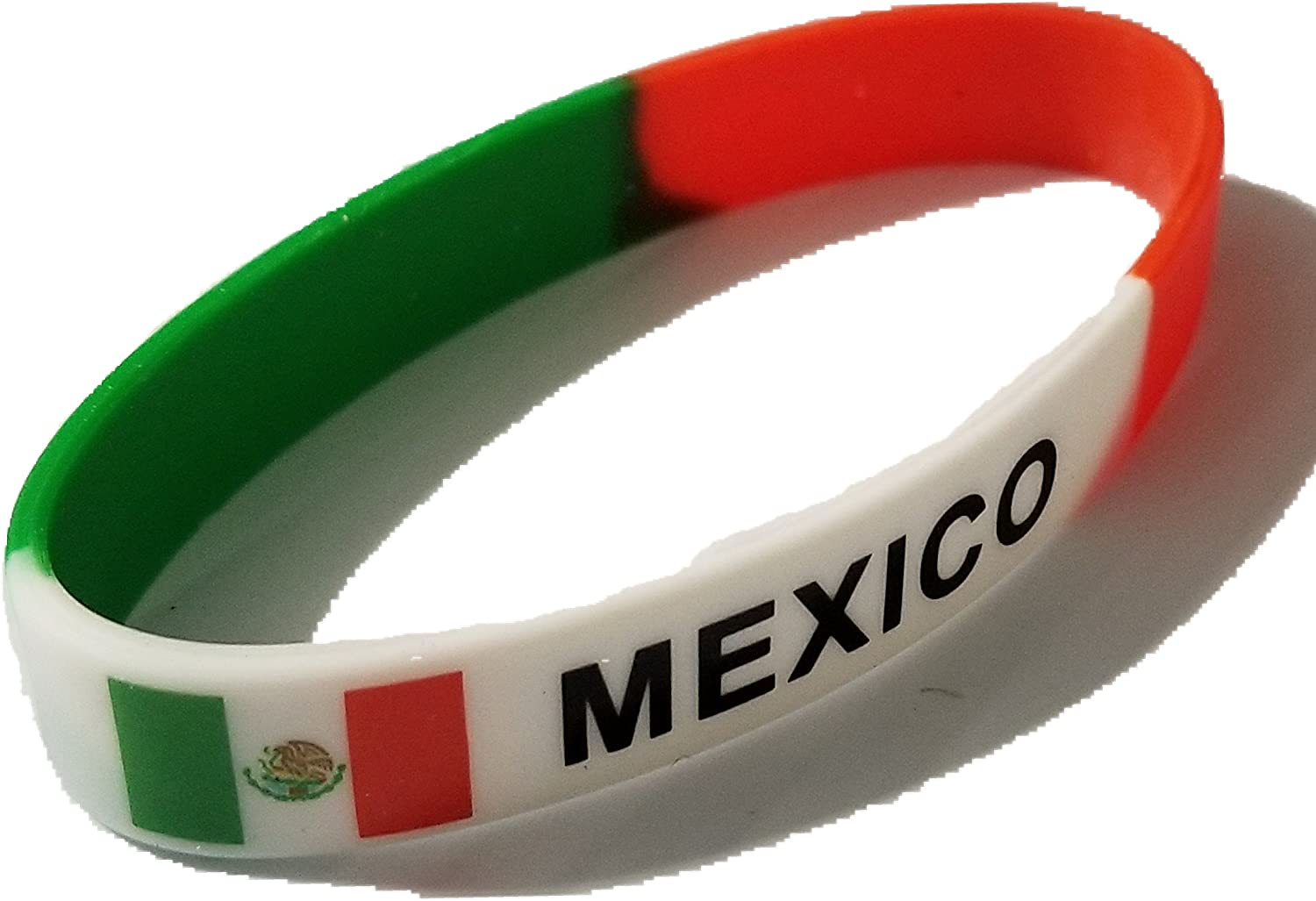 BUNFIREs Women Men Mexican Country Flag Silicone Bracelet Sport Wristband Mexican Wristband Bangle Mejico