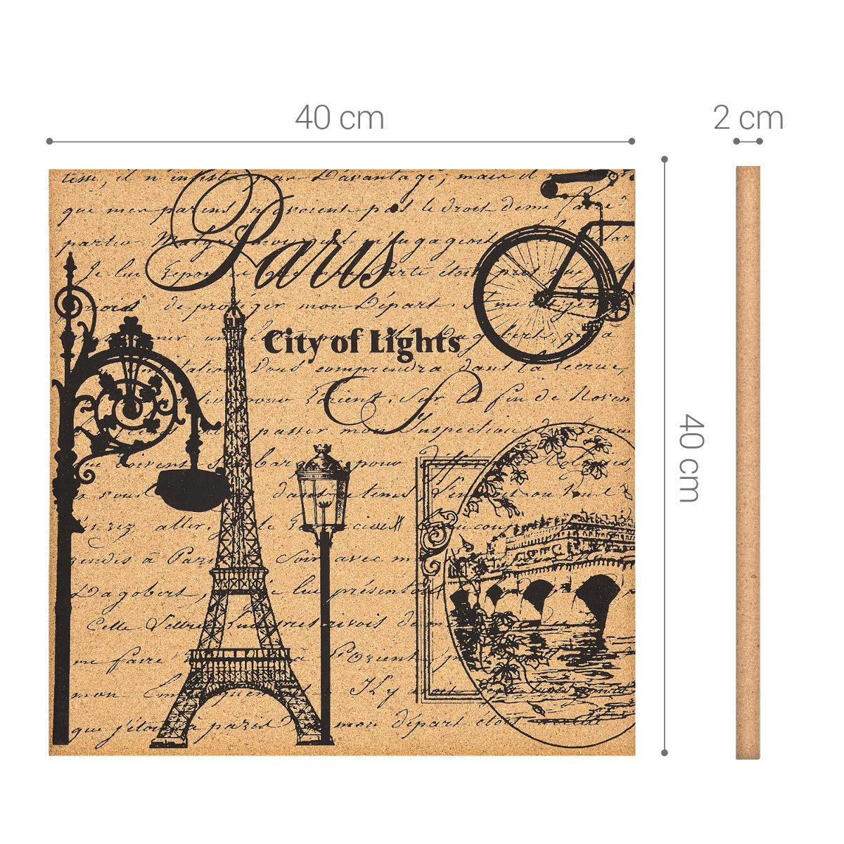 Navaris Cork Bulletin Board - 40 x 40 cm Push Pin Memo Corkboard in Eiffel Tower Design with Push Pins for Kitchen, Classroom, Home Office, Bedroom
