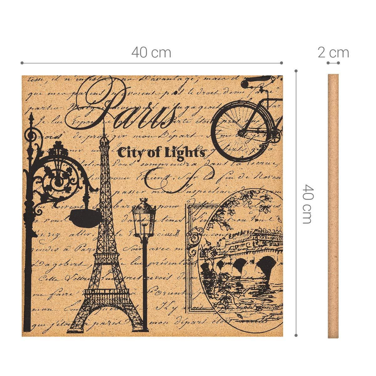 Navaris Cork Bulletin Board - 40 x 40 cm Push Pin Memo Corkboard in Eiffel Tower Design with Push Pins for Kitchen, Classroom, Home Office, Bedroom