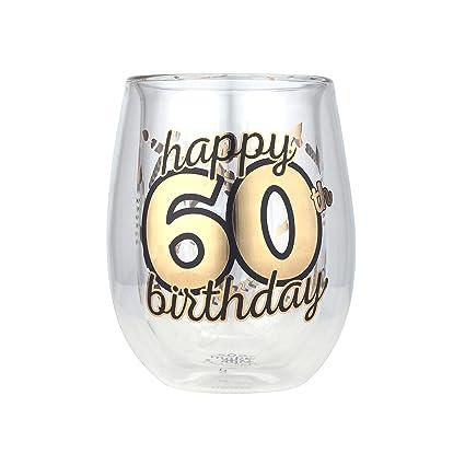 amazon com top shelf double wall stemless 60th birthday wine glass