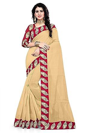 1d81e3a83f Winza Designer Silk Saree with Blouse Piece (WWD-DEVI BORDERB_Beige_Free)