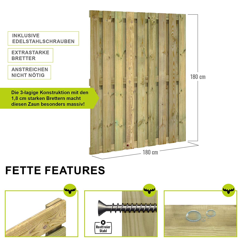 Fatmoose Sichtschutzzaun Gartenzaun Solidfence Grande Zaun Holz