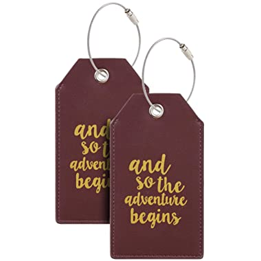 Casmonal Luggage Tags with Full Back Privacy Cover w/Steel Loops (wine red 02 pcs set)