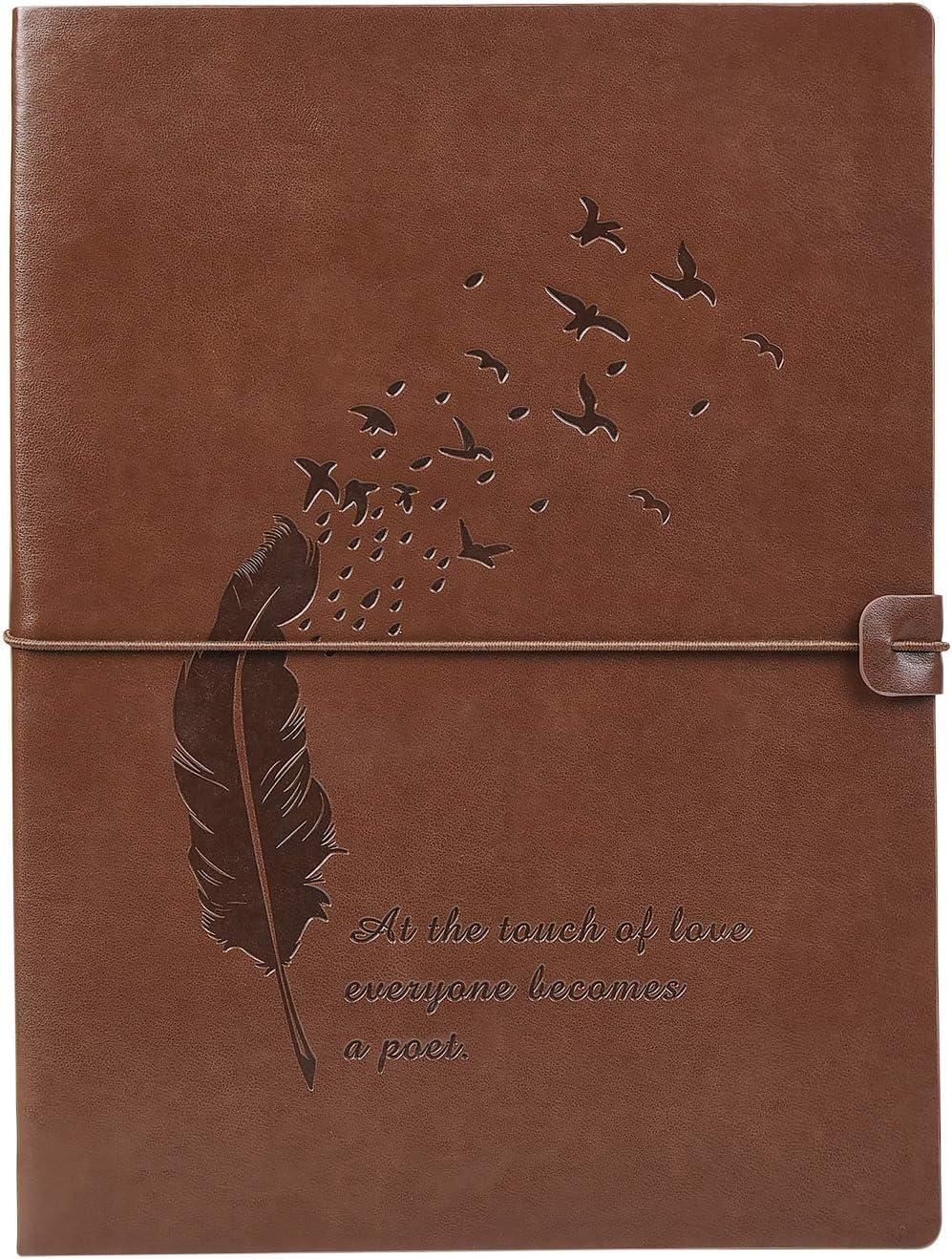 VEESUN A4 Libreta Bonitas Cuaderno de Cuero Vintage Diario de Viaje Recargable Bloc de Notas Journal Sketchbook en Blanco, Regalo Original San Valentín Navidad cumpleaños Aniversario Boda, Pluma