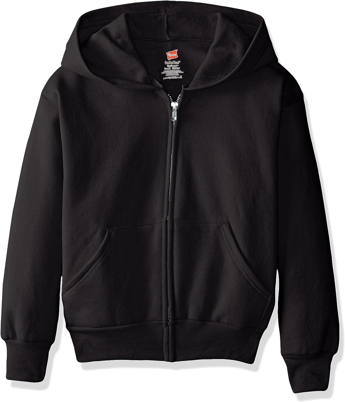 Hanes Boys EcoSmart Fleece Full Zip Hooded Jacket: Clothing