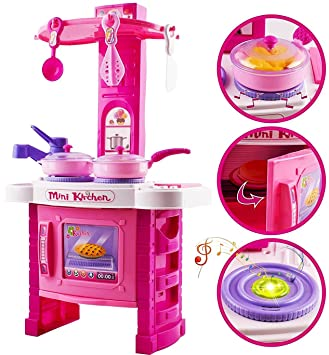 Attractive Kids Kitchen Toy, Kitchen Playset Simulation Kitchen Cookware Pretend Role  Play Toy 21u0026quot; Tall