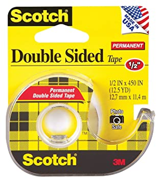 Scotch 137 oficina de doble cara cinta con dispensador de mano, 1/2 x