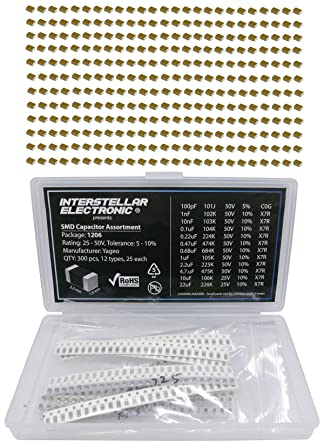 1206 SMD Capacitor Assortment X7R C0G only 1nF 4.7uF 10nF 0.68uF 50V 22uF 300 pcs 100pf 0.47uF 0.22uF 01uF 2.2uF 1uF 25V 10uF