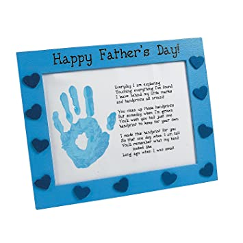 Amazon.com: Wooden Father\'s Day Handprint Frame Craft Kit - Crafts ...