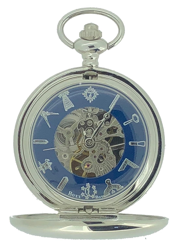 a4e2e42a8 Masonic Freemasons Silver Tone Skeleton Mechanical Pocket Watch:  Amazon.co.uk: Watches