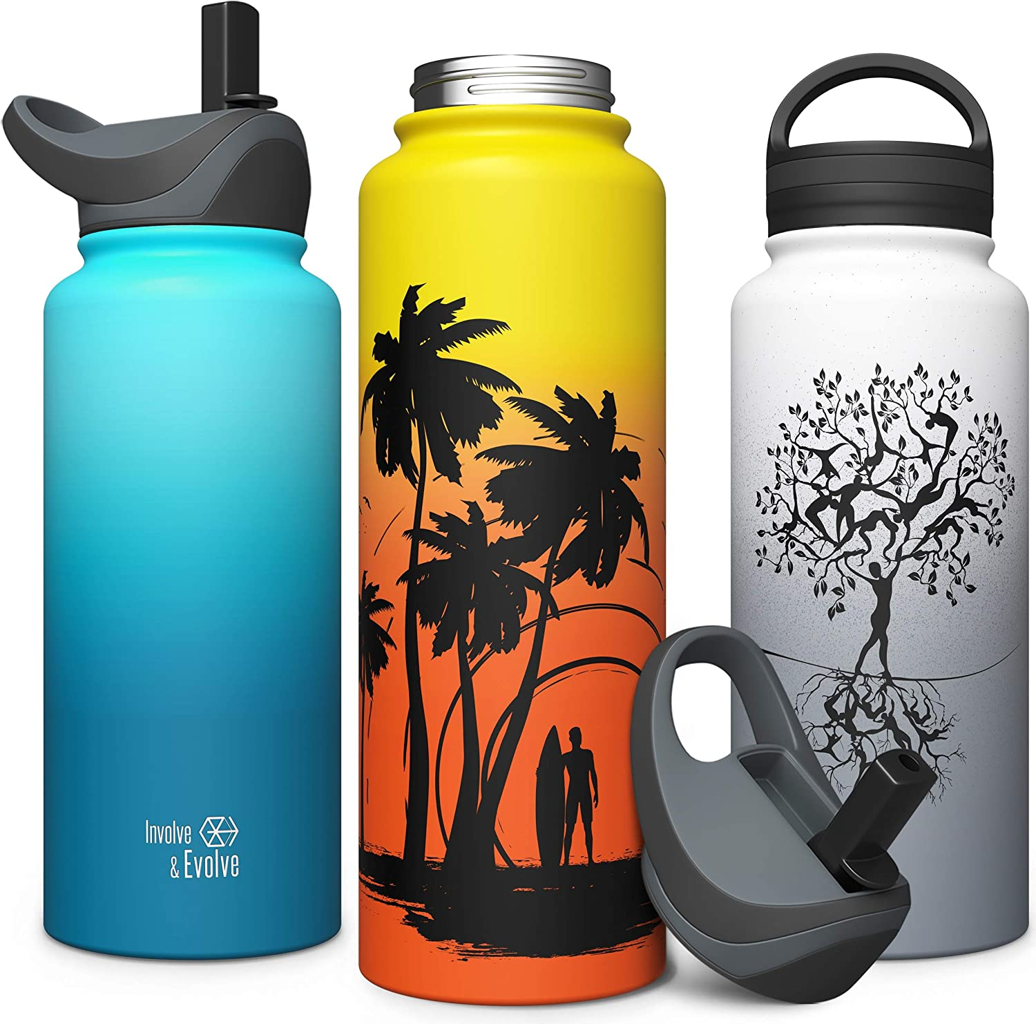 Insulated Water Bottle with Solid Wide Mouth one Piece Biteproof Straw Lid Hard Smart Flask 18oz Stainless Steel