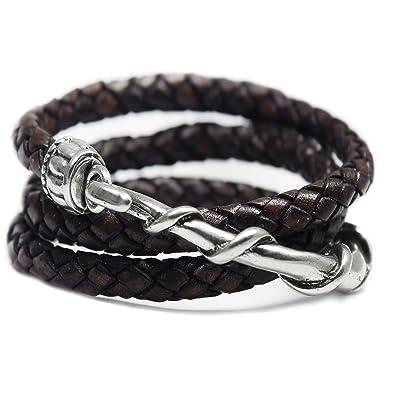Beau Soleil Jewelry Armband Wickelarmband Lederarmband aus rundgeflochtenem  Leder Antikdunkelbraun Damen Herren Lederschmuck  Amazon.de  Schmuck 4001c6e4bc