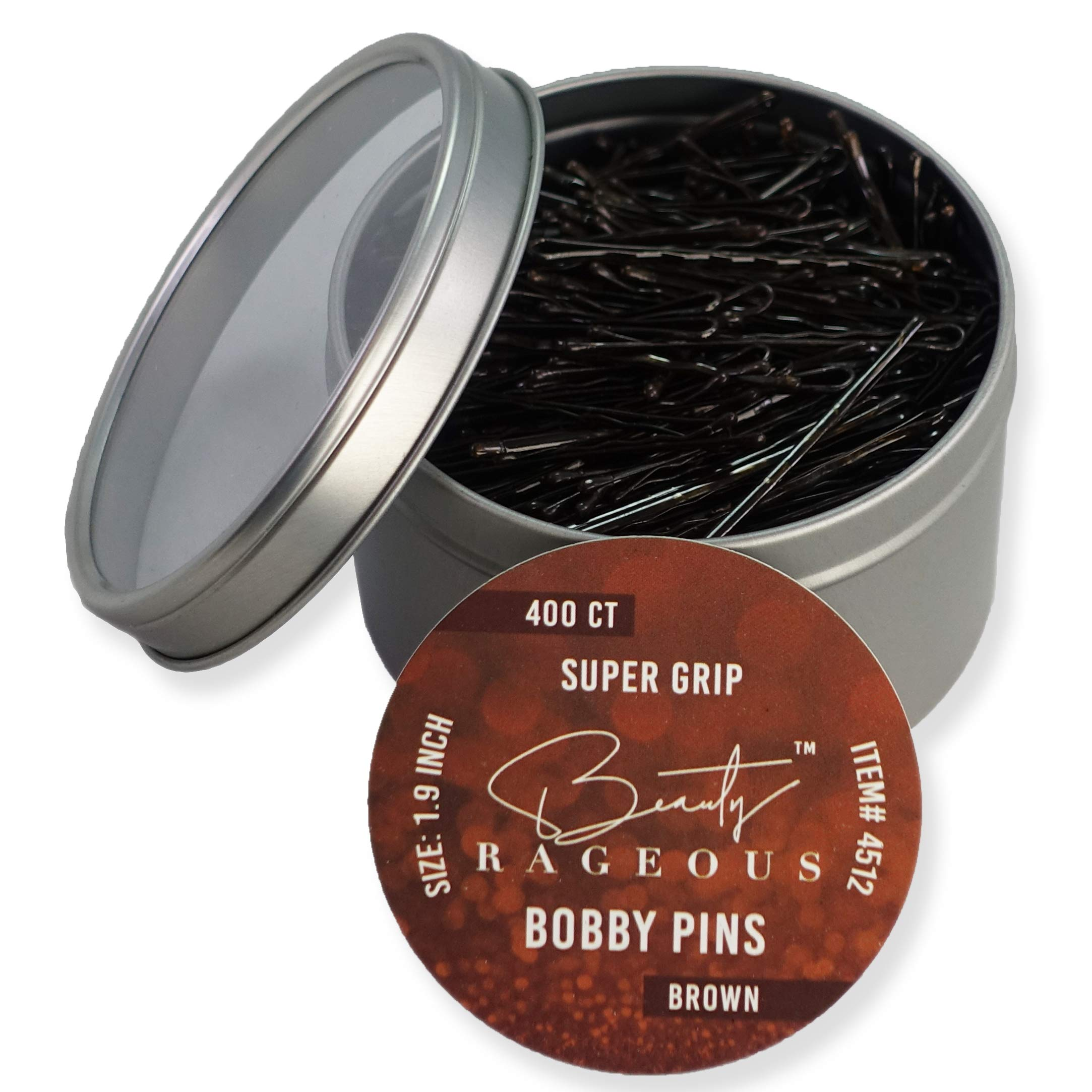Super Grip Brown Bobby Pins - 400 Ct - Handy Reusable Tin by Beauty Rageous