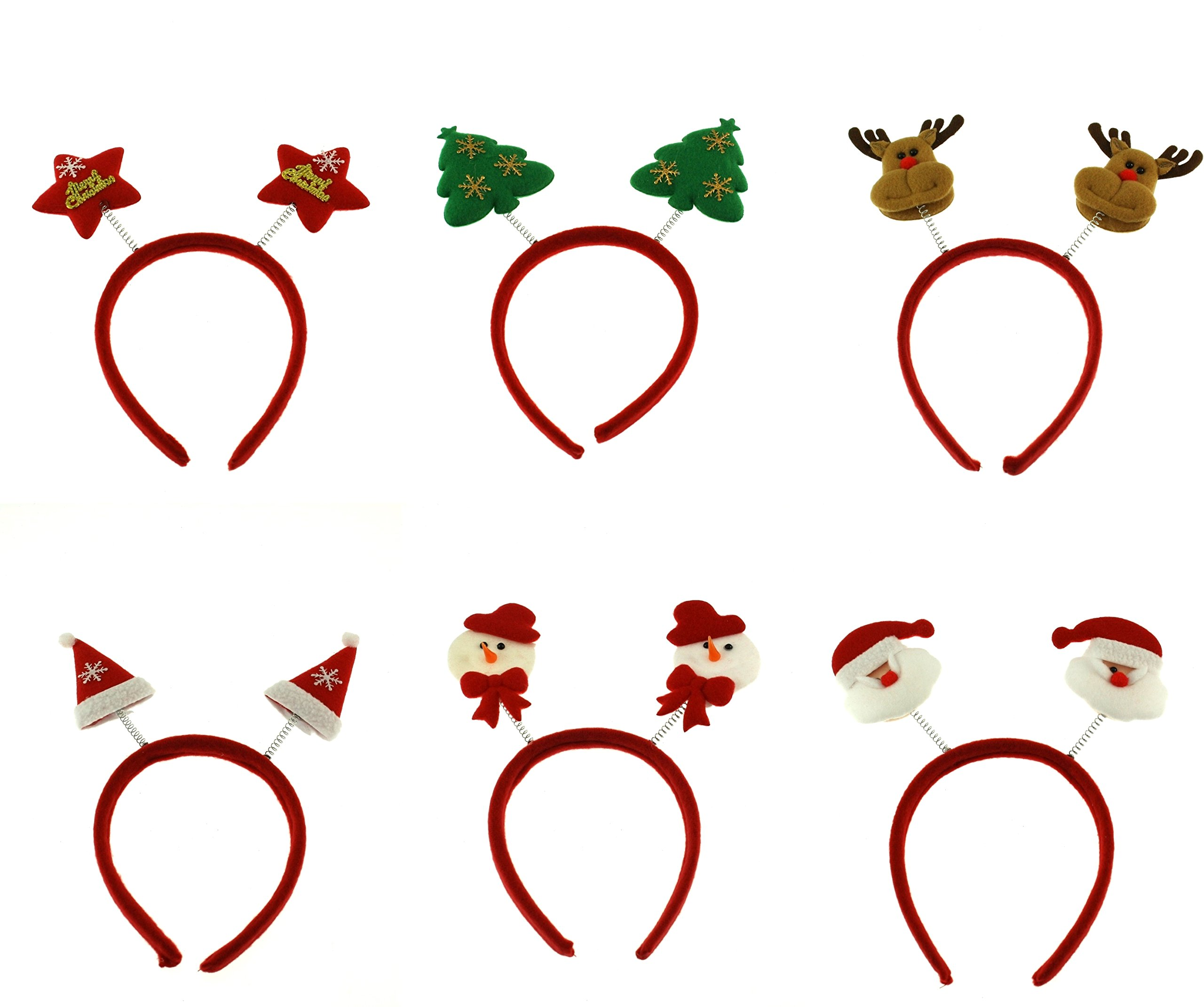 Zacs Alter Ego Pack Of 6 Assorted Christmas Head Boppers Xmas Headbands