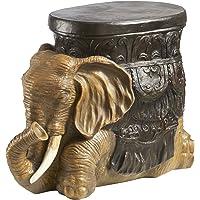 Design Toscano Sultans Elephant Boho Decor Side Table, 52 cm, Polyresin, Woodtone
