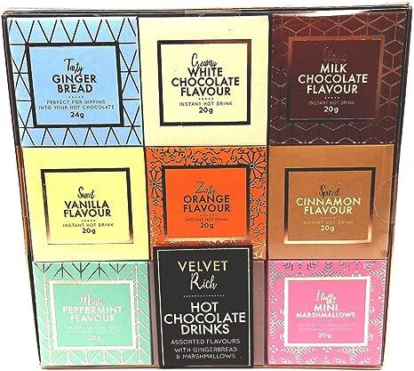 Sabores surtidos de bebidas de chocolate caliente de terciopelo ...