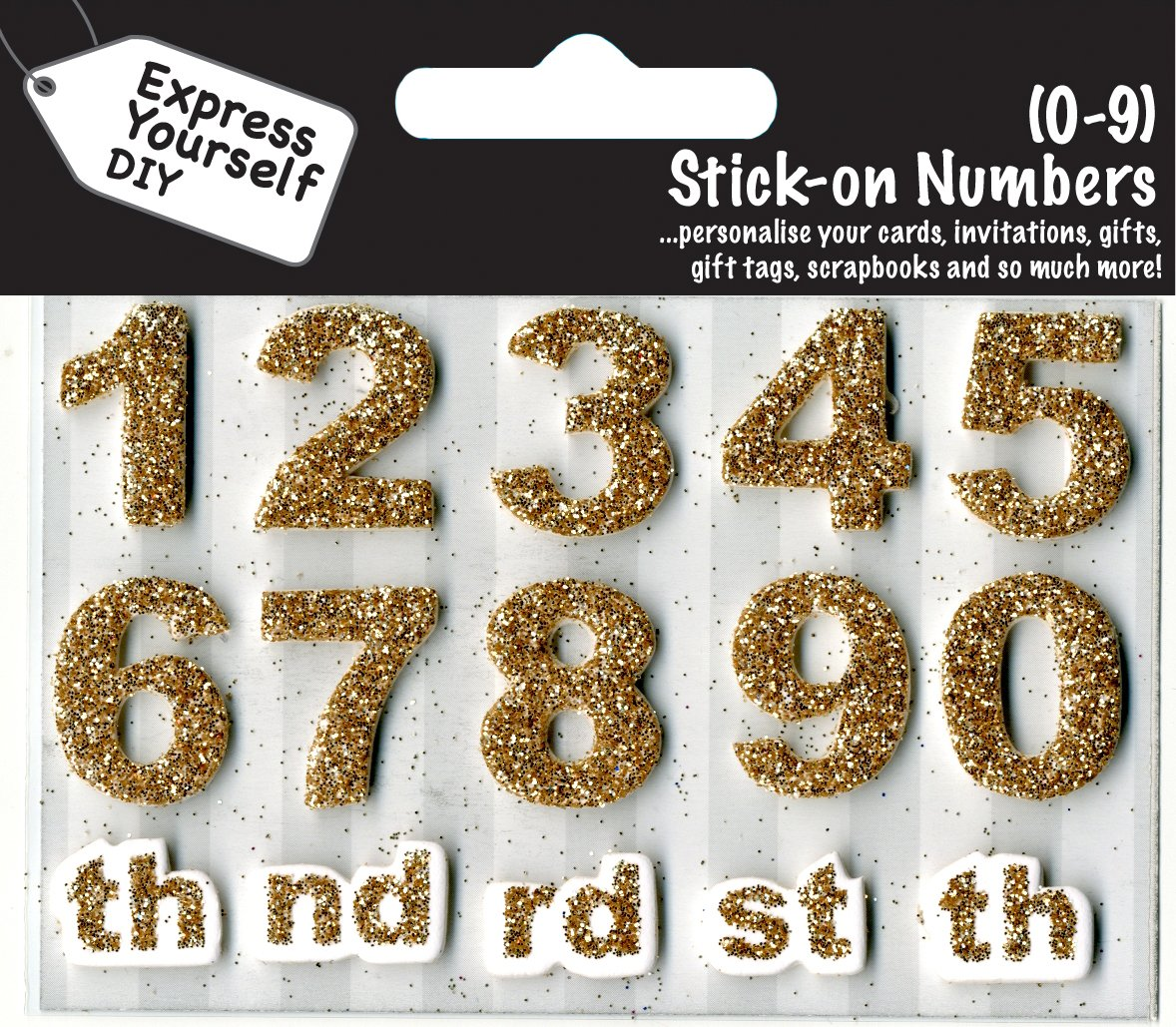 Numbers 0-9 Gold DIY Greeting Card Toppers Personalise Cards Express Yourself Range