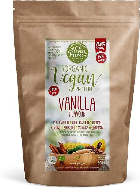 Proteína Vegana - Vainilla - 72% Proteína - Certificado Orgánico - Sin: Alergenos, Lactosa, OGM, Aditivos Artificiales, Edulcorantes Artificiales - ...