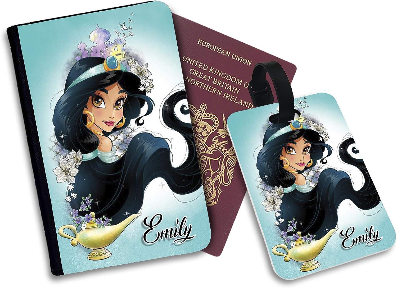 Disney Aladdin Princess Jasmine /Étui pour Passeport et /étiquette de Bagage en Similicuir Multicolore Multicolore Luggage Tag