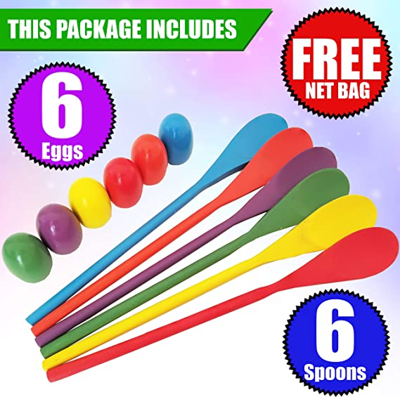 Egg /& Spoon Race Game W// 6 Eggs /& 6 Spoons Fun Game For Parties Assorted Colors