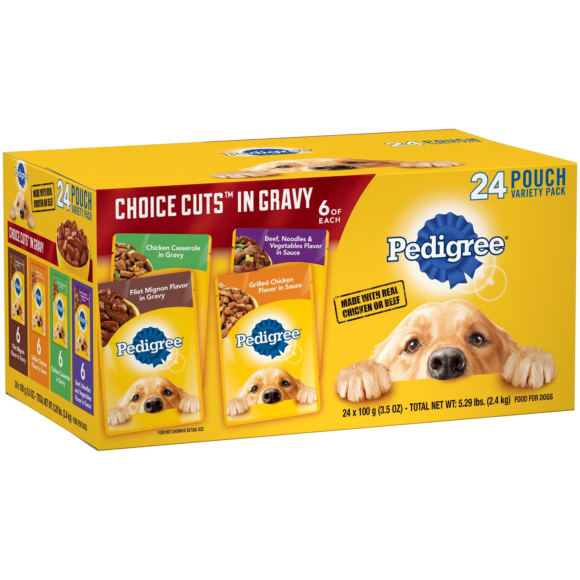 Pedigree Choice Cuts In Gravy Adult Wet Dog Food Variety Pack, (24) 3.5 Oz. Pouches by Pedigree