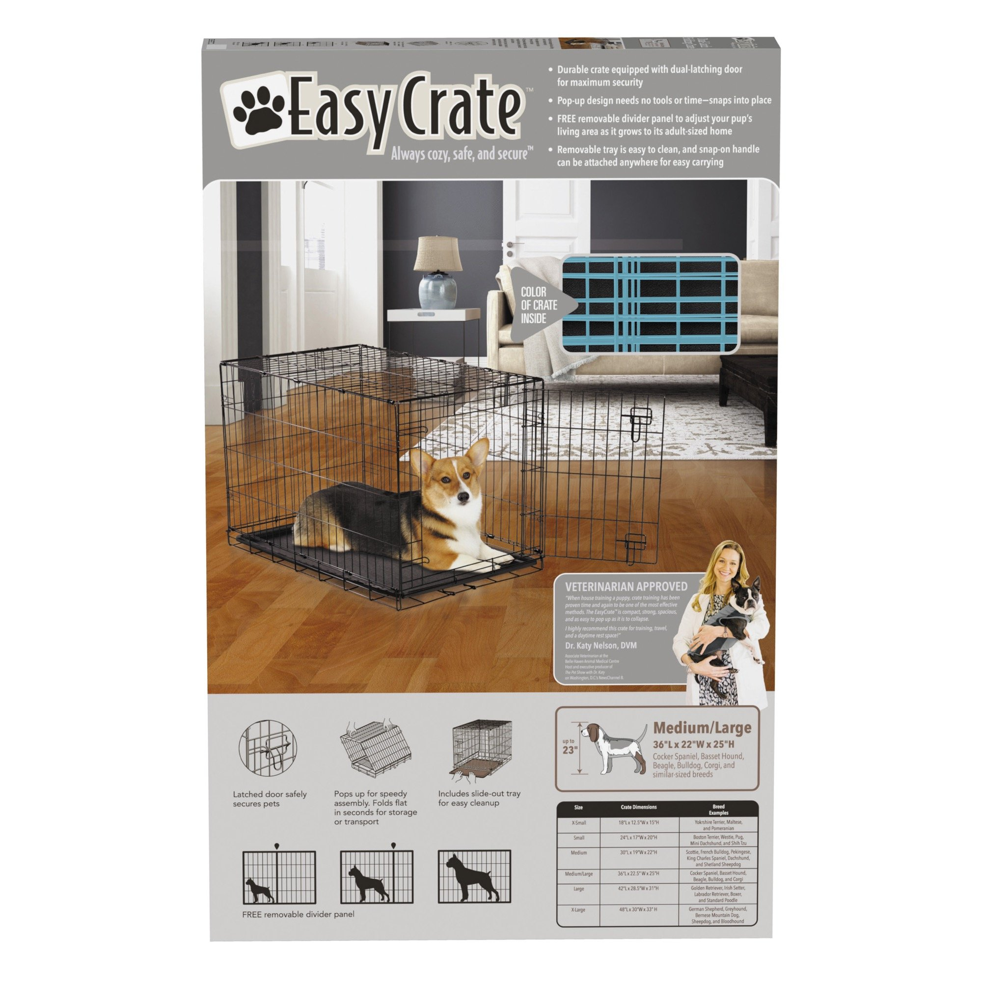 Easy Dual Latching Dog Crate, Medium/Large, Teal by Easy (Image #5)