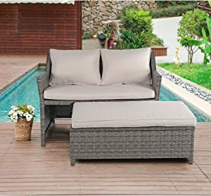 OC Orange-Casual 2-Piece Outdoor Patio Furniture Wicker Love-seat and Coffee Table Set, with Built-in Storage Bin, Grey Rattan, Beige Cushions
