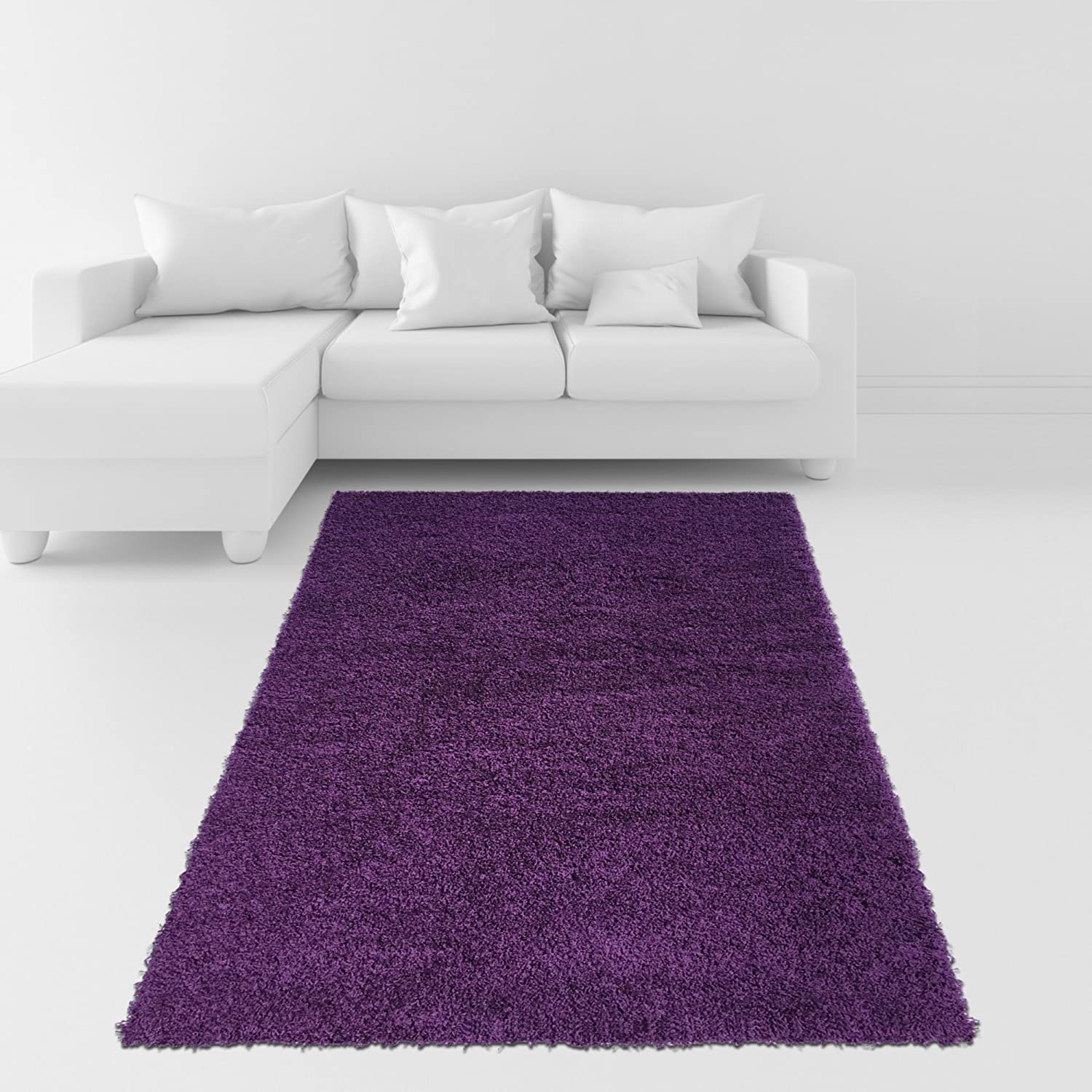 Amazon Soft Shag Area Rug 3x5 Plain Solid Color PURPLE