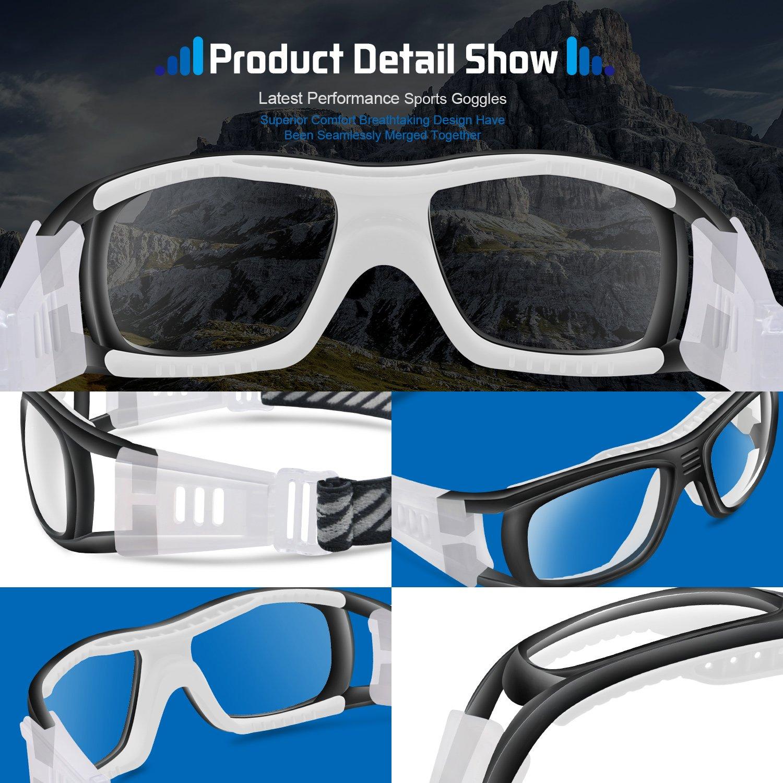 6dc963dbfad2 Amazon.com  PONOSOON Sports Goggles Glasses for Basketball Football  Volleyball Hockey 1809(Black)  Sports   Outdoors