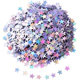 Shappy Star Confetti Star Table Confetti Stars Sequin for Party Wedding Supplies, 45 Grams, Silvery