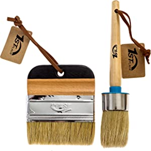 1st Place Chalk & Wax Pure Bristle Brush Set - Round Brush & 4 Inch Flat Brush - 2 Piece Set