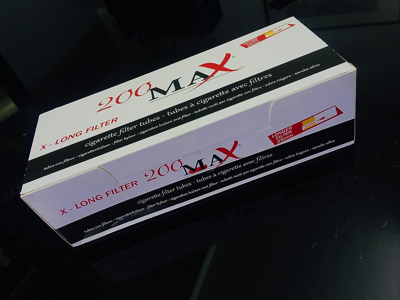200 cigarrillos vacíos X-long filtro – 1 caja de tubos vacíos para cigarrillos Max: Amazon.es: Salud y cuidado personal