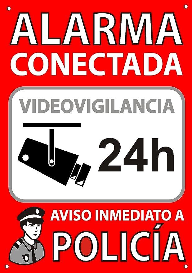 Cartel disuasorio A5 Interior/Exterior, Placa disuasoria PVC Flexible, Cartel Alarma conectada, 21x15 cm Rojo