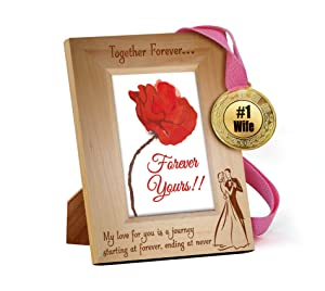 TIED RIBBONS karwa chauth Gifts Wooden Engraved Frame with Golden Medal | karwachauth Special Gifts for Wife | karwachauth Special Gifts for Wife | Gifts for Women on karwachauth