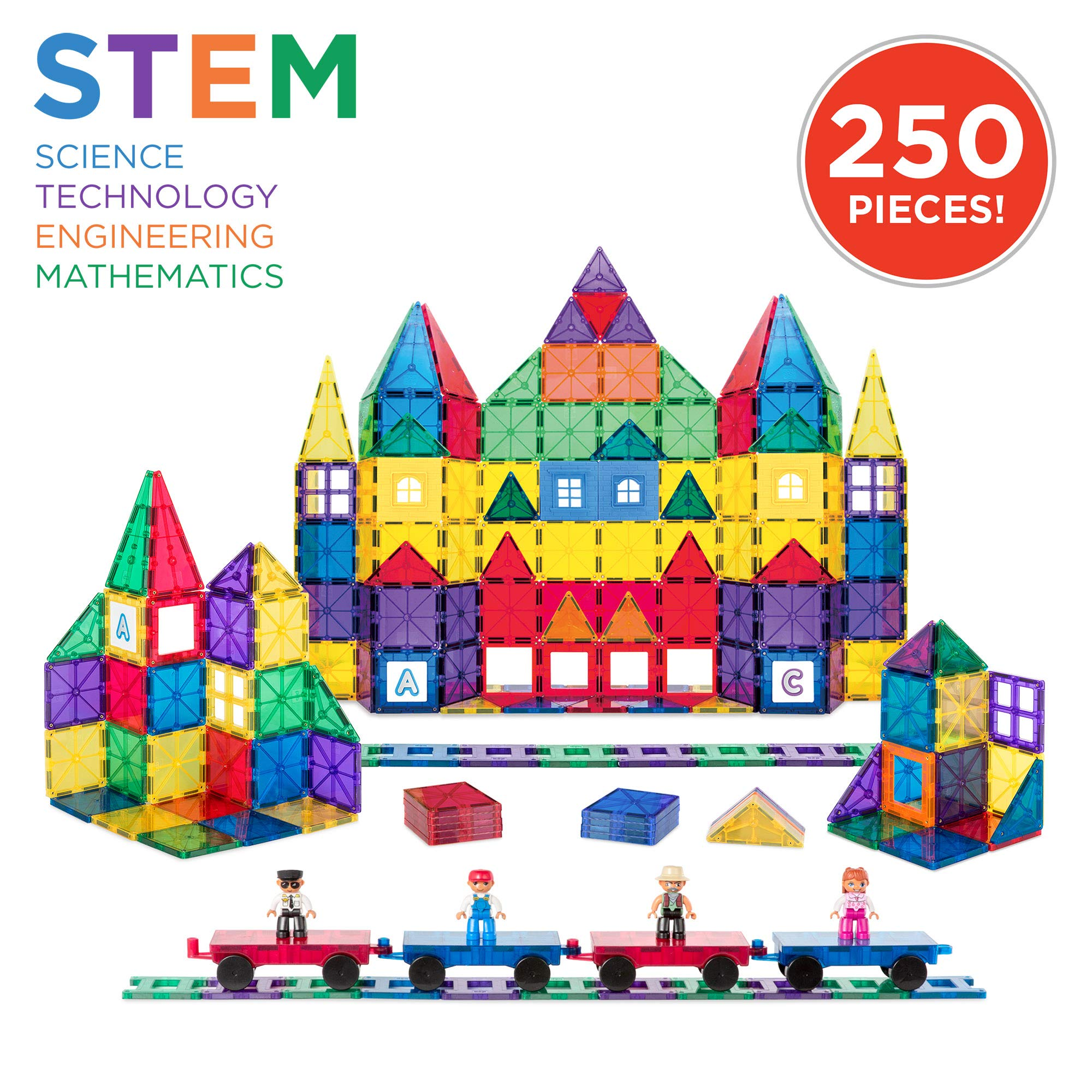 Best Choice Products 250-Piece Kids Educational STEM Rainbow Geometric 3D Magnetic Building Block Tile Toy Play Set w/ Railroad Tracks, 4 Action Figures, 4 Mini Train Carts, ABC Stickers by Best Choice Products (Image #1)