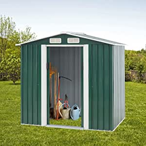 Cemeon Outdoor Storage Shed 4×6 FT Garden Metal Tool House, Walk-in Steel Double Sloping Roof Shed with Sliding Door for Garden, Lawn, Backyard (Green)