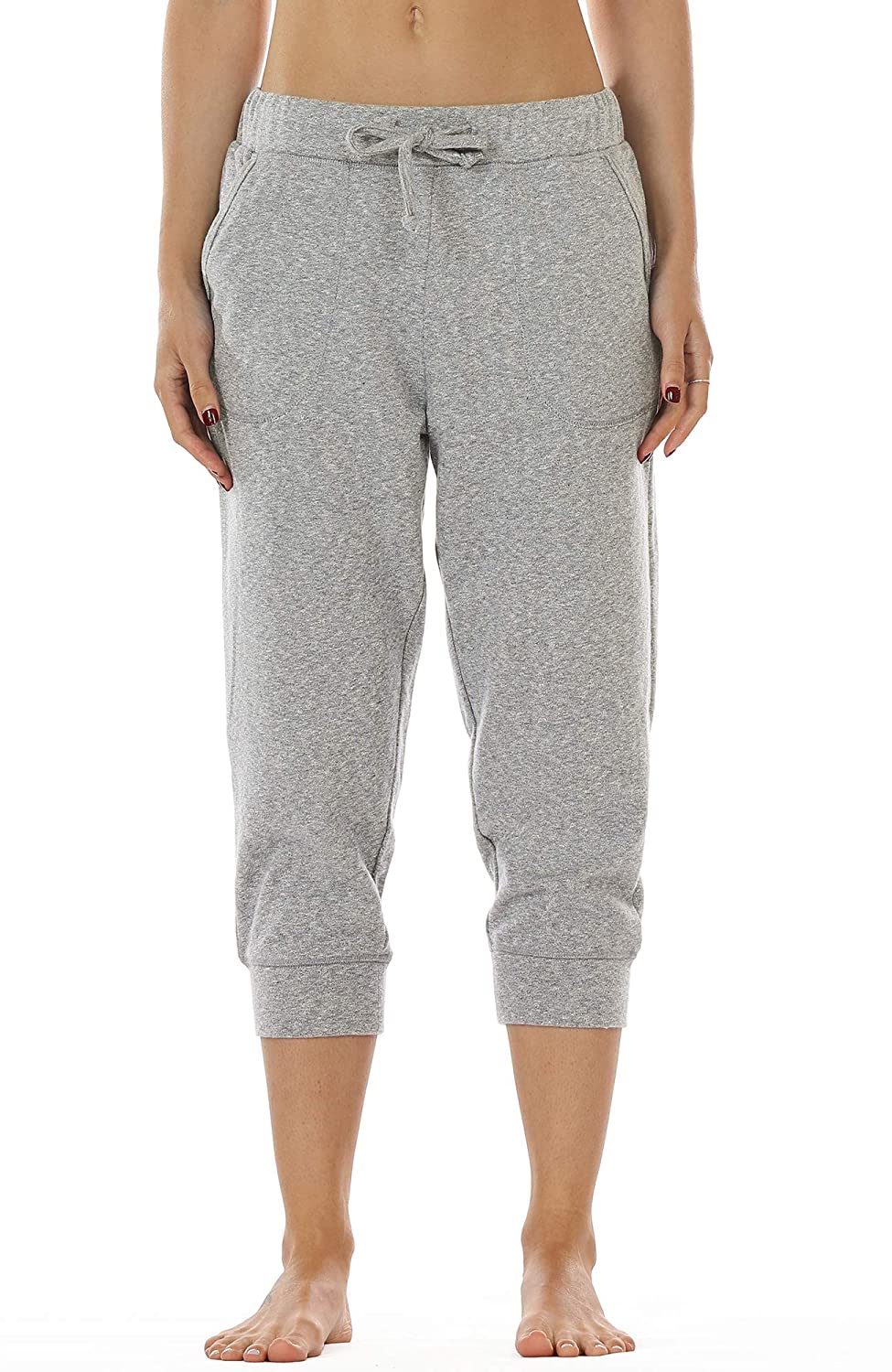 fc02a13a82 icyzone Women s French Terry Jogger Lounge Sweatpants - Active Capri ...