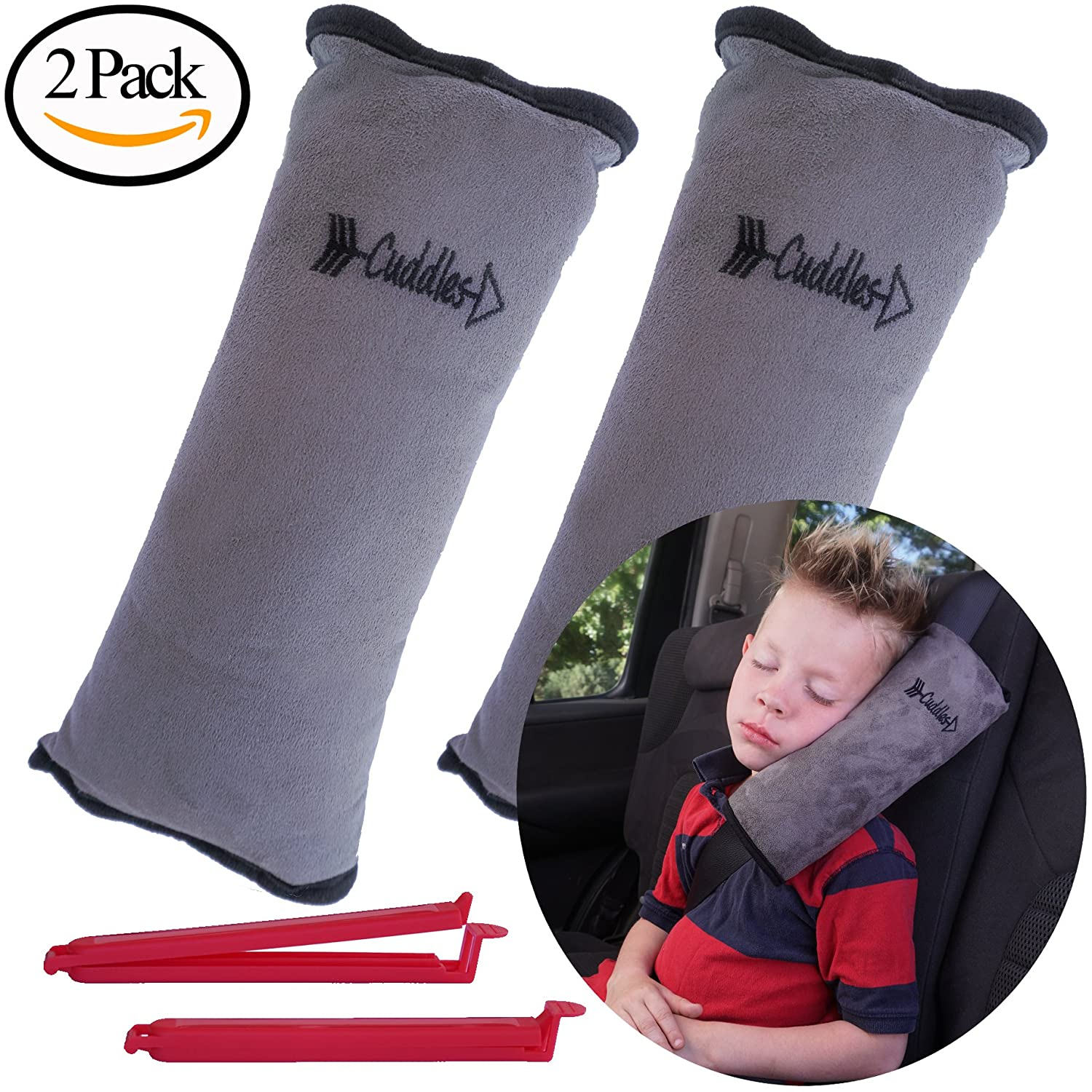 Seat Belt Pillow for Kids by Cuddles | 2 Pack Seatbelt Pillow| seat Belt Pillows| Kids Seatbelt Pillow| Seatbelt Pillow for Kids| car Travel Head Cushion, Washable Cover, Headrest Gray 2 Pack Cuddles Baby Goods