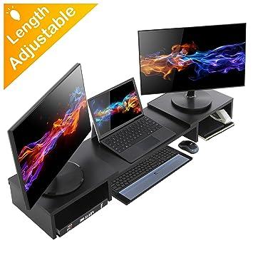 HOMURY - Soporte para Monitor de Madera con Organizador de Escritorio de Longitud Ajustable para Ordenador, iMac, Impresora, portátiles, Color Negro: ...
