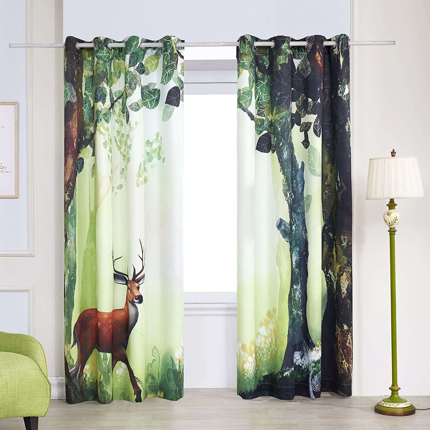 Window Curtain Drapes Set Deer Forest Decor Rustic
