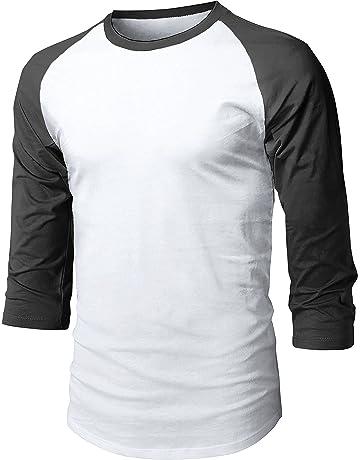 4316c056 Hat and Beyond Mens Baseball Raglan 3/4 Sleeve Plain Casual Tee Basic  Active T